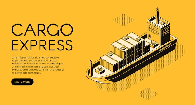 Illustration de la livraison du navire de dessin au trait mince dans le style de demi-teinte isométrique noir.