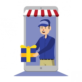 Illustration de livraison en ligne