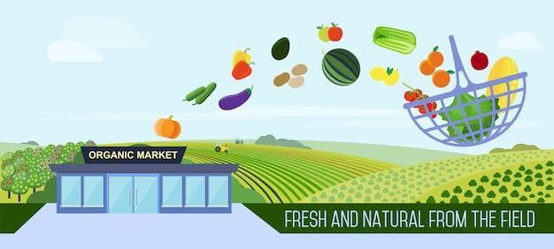 Illustration de livraison de nourriture biologique