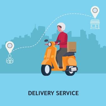 Illustration de livraison rapide. courrier roulant en scooter pour livrer les colis / cartons