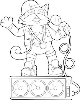 Illustration de livre de coloriage chanteur de chat