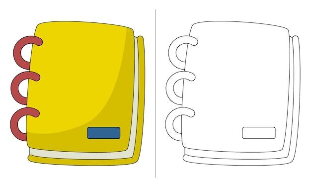 Illustration livre coloriage pour enfants livre jaune