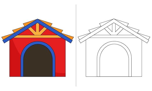 Illustration livre coloriage pour enfants maison chien rouge