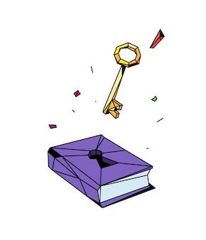Illustration d'un livre fermé et d'une clé
