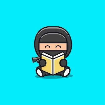 Illustration de livre de lecture de ninja noir mignon