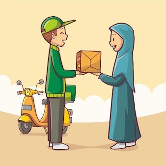 Illustration d'un livreur donnant une commande de colis à un client. art vectoriel dessiné à la main