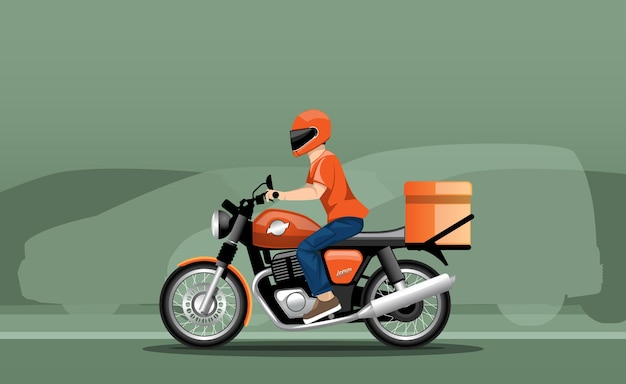 Illustration d'un livreur en mouvement sur une moto sur fond de circulation.
