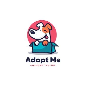 Illustration logo adopté chien mascotte dans style dessin animé