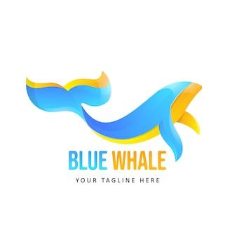 Illustration de logo de baleine colorée