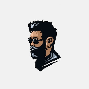 Illustration logo barbe