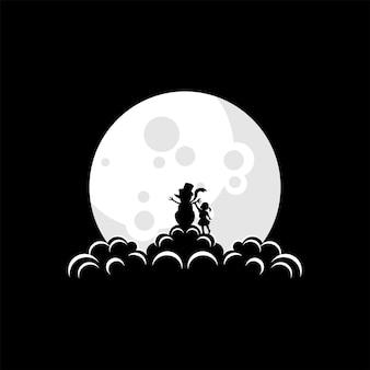 Illustration de logo de bonhomme de neige de noël sur le vecteur de lune