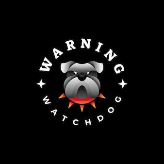 Illustration de logo bulldog gradient style coloré.