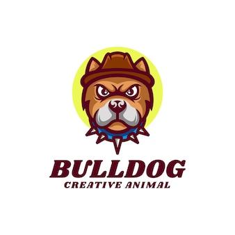 Illustration logo bulldog mascotte dans style dessin animé