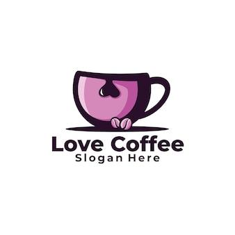 Illustration de logo de café d'amour