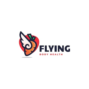 Illustration logo carotte volante dans style mascotte simple