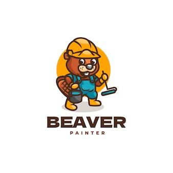Illustration logo castor peintre mascotte dans style dessin animé