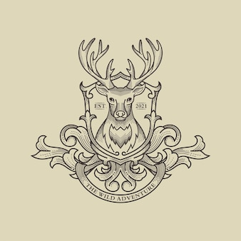Illustration de logo de cerf sauvage