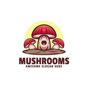 Illustration De Logo Champignons Style De Mascotte Simple. Vecteur Premium