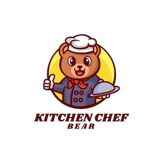 Illustration logo chef ours mascotte dans style dessin animé