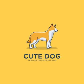 Illustration logo chien esquimau canadien pose dessin animé mignon