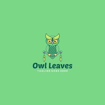 Illustration logo chouette feuilles dessin animé mignon