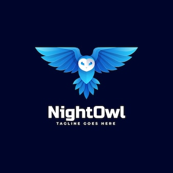 Illustration logo chouette nuit dans style coloré dégradé