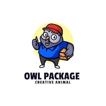 Illustration logo chouette paquet mascotte dans style dessin animé