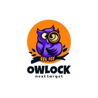 Illustration logo chouette serrure mascotte dans style dessin animé