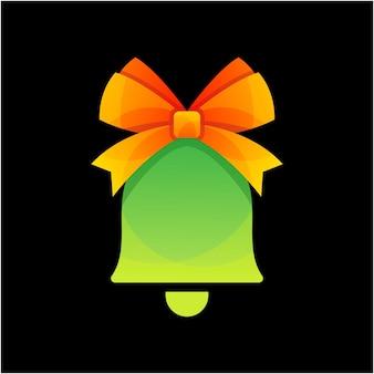 Illustration de logo de cloche de noël coloré de vecteur
