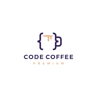 Illustration de logo code café café tasse verre