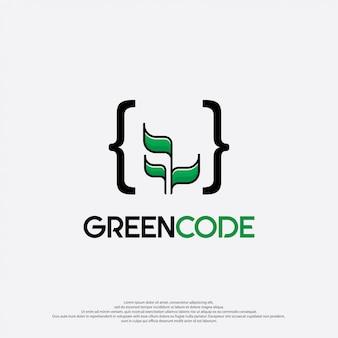 Illustration de logo de code vert