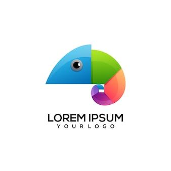 Illustration de logo coloré caméléon