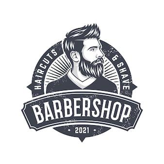 Illustration de logo de conception homme barbe