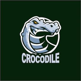 Illustration logo crocodile blanc
