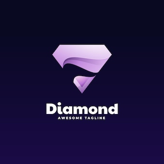 Illustration logo dans style coloré dégradé diamant