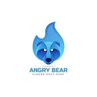 Illustration logo dans style coloré dégradé ours colère