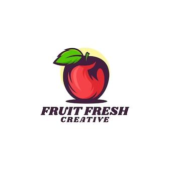 Illustration logo dans style mascotte simple frais pomme