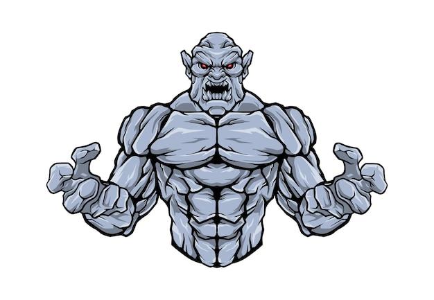 Illustration de logo de demi-corps de golem de pierre en colère