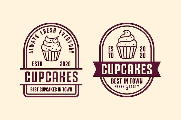 Illustration de logo design cupcakes isolé