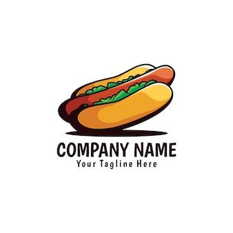 Illustration de logo de dessin de main de hot-dog