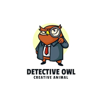 Illustration logo détective hibou mascotte dans style dessin animé
