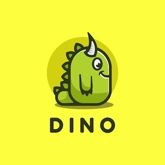 Illustration de logo dino style de mascotte simple.