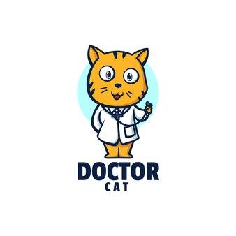 Illustration logo docteur chat mascotte dans style dessin animé