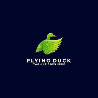 Illustration logo duck flying gradient style coloré.