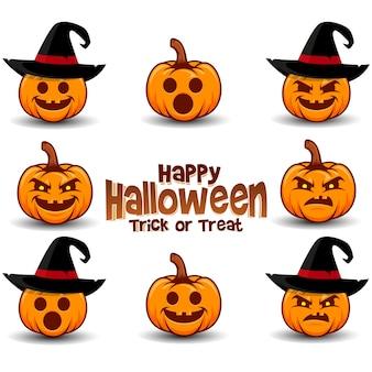 Illustration de logo emoticone emoji citrouille d'halloween