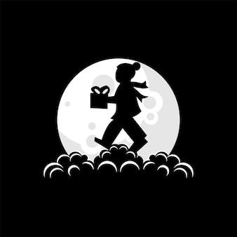 Illustration de logo d'enfant apportant des cadeaux de noël sur le vecteur de lune