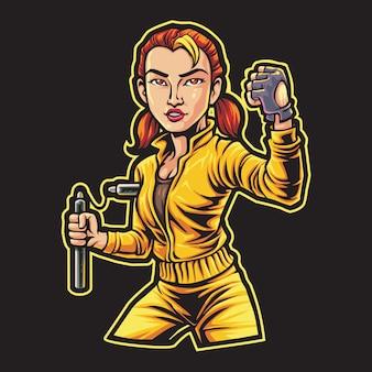 Illustration de logo esport fille combattant nunchaku