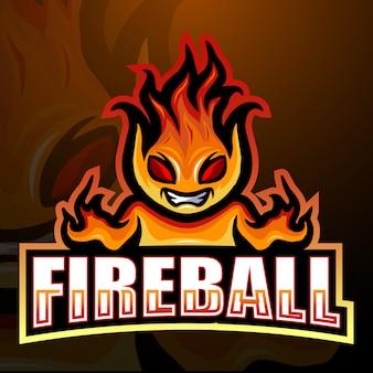 Illustration de logo esport mascotte boule de feu