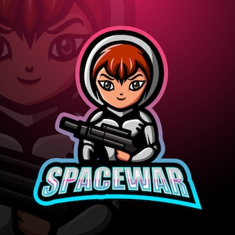 Illustration de logo esport mascotte fille guerre spatiale