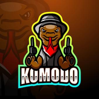 Illustration de logo esport mascotte mafia komodo